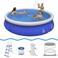 Jilong Prompt Set Pool Marin Blue 450 Set - Quick-up Pool Set 450x90cm, mit Kartuschen-Filterpumpe, Leiter, Boden- und Abdeckplane