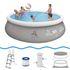 Jilong Prompt Set Pool Marin Grey 450 Set - Quick-up Pool 450x106cm, mit Filterpumpe und Kartusche, Leiter, Boden- und Abdeckplane