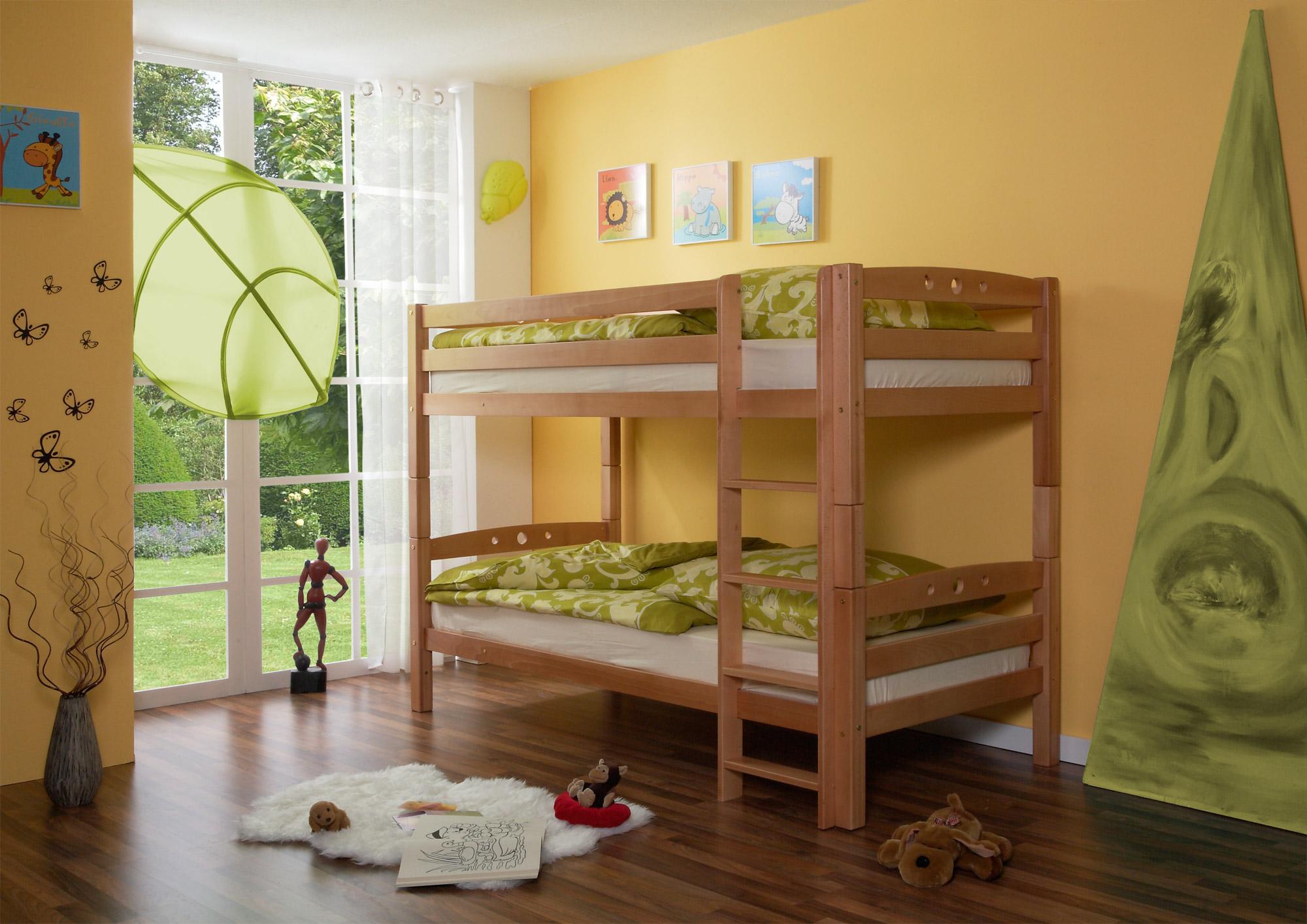 Etagenbett Kinder Massiv : Etagenbett doppelbett stockbett lupo buche massiv natur teilbar kind