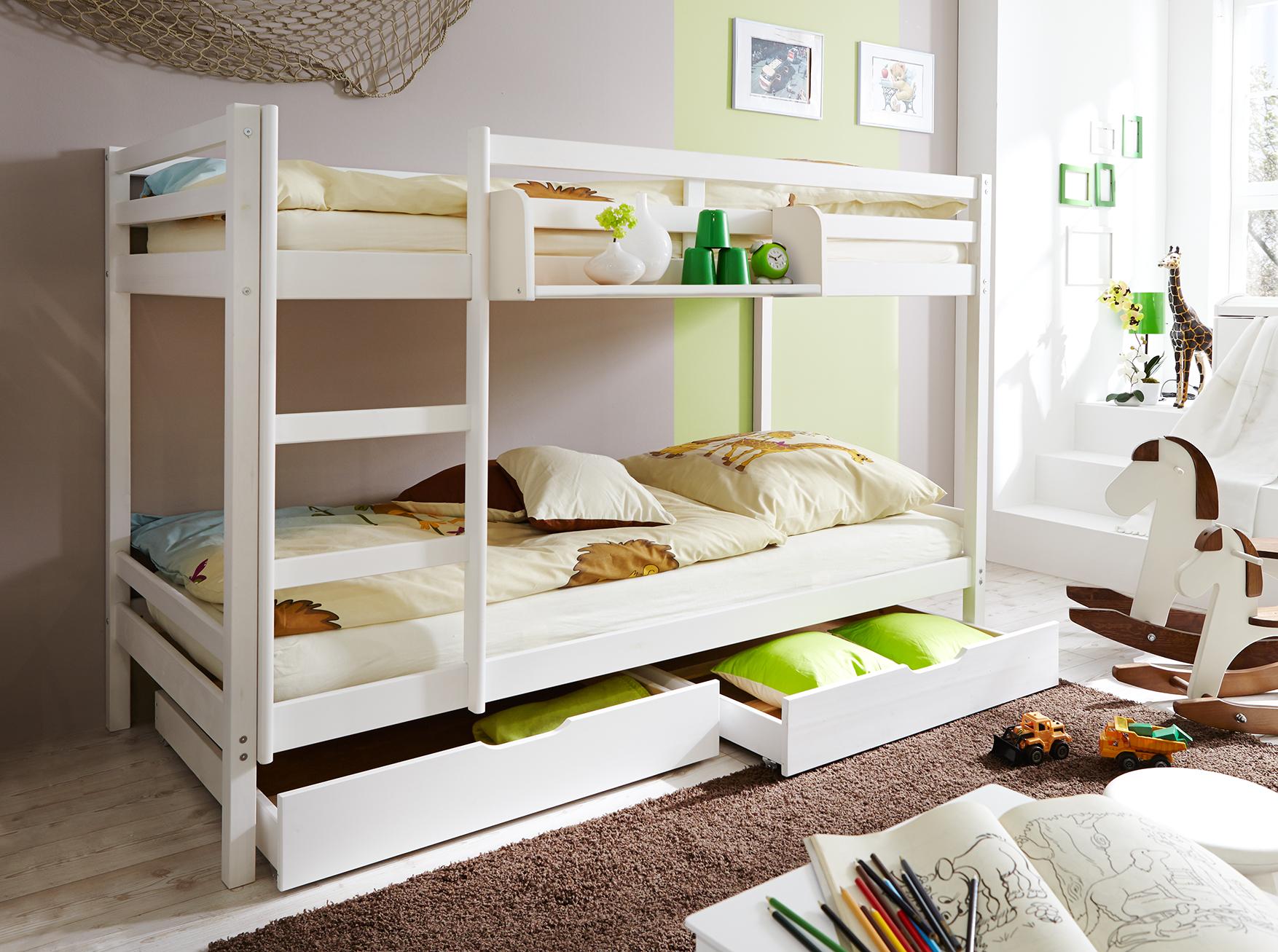Etagenbett Kind Und Baby : Etagenbett doppelbett stockbett rene kiefer massiv weiss kind und baby