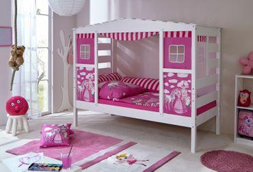 Hausbett Etagenbett : Hausbett hochbett spielbett massivholz kiefer weiss horse pink ebay