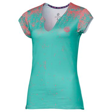 Bella Tech V-Neck Tee - green/coral (SP18) – Bild 1
