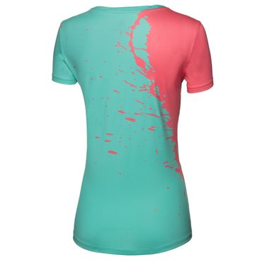 Amari Tech Round-Neck Tee - green/coral (SP18) – Bild 2