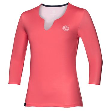 Cyra Tech V-Neck Longsleeve - coral/white (SP18) – Bild 1