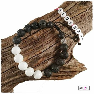 Lava Armband - black/white