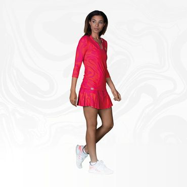 Cyra Tech V-Neck Longsleeve - red/pink (HW18) – Bild 3