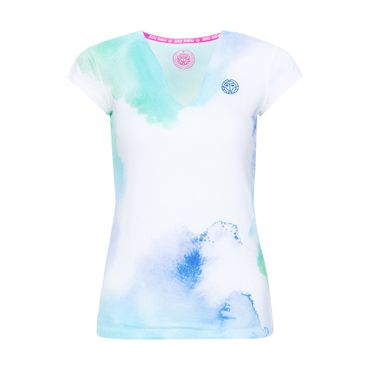 Bella 2.0 Tech V-Neck Tee - white/blue/green (SP19) – Bild 1
