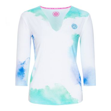 Ariana Tech V-Neck Longsleeve - white/blue/green (SP19) – Bild 1