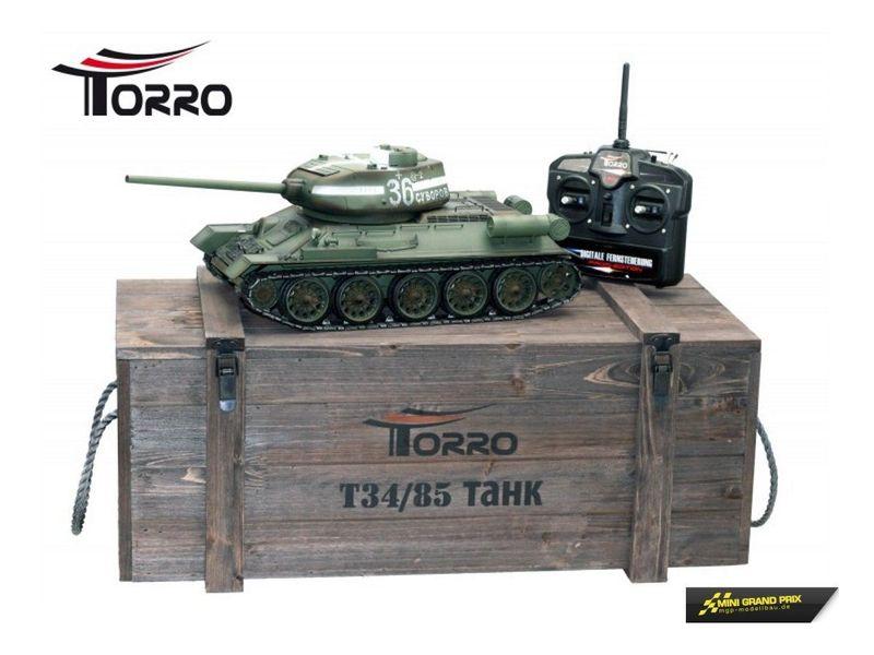 Torro T34/85 RC Panzer 2.4 GHz 1:16 Metallausführung IR Farbe Grün 1112400402