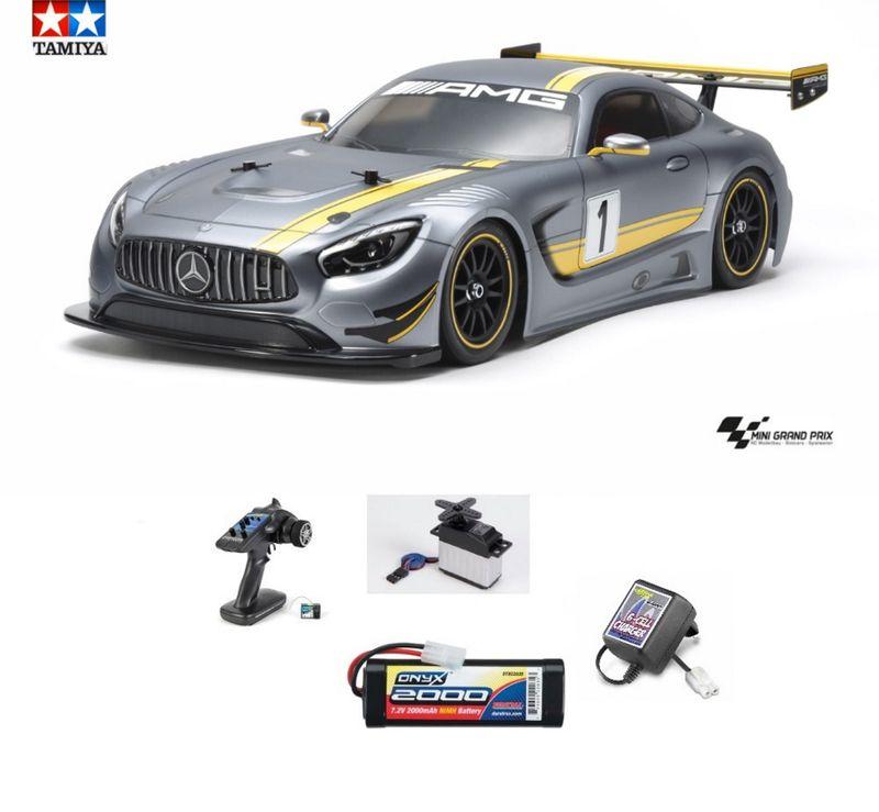 Tamiya 1:10 RC Mercedes-AMG GT3 TT-02 Chassis 58639 Bausatz mit Sender+Akku