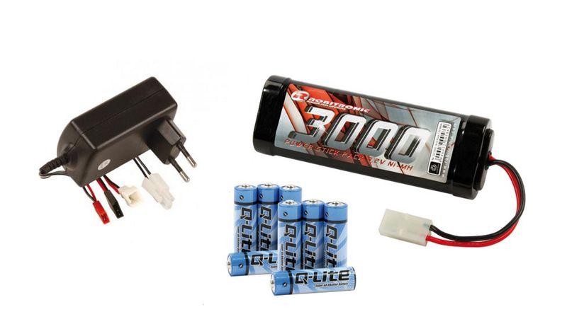 Robitronic Akku Ladeset: 2 A Ladegerät + 7,2V 3000mAh Akku + 8x AA Batterie RB1017