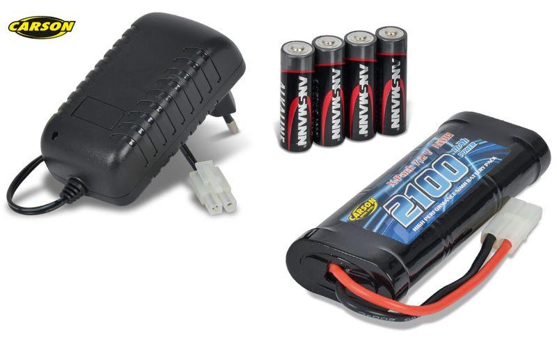 Carson Akku Ladeset Expert Charger 1A+7,2V 2000mAh Akku+4 Batterien 500607012