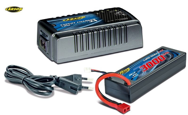Carson Ladegerät Expert Charger Lipo Compact 3A mit 3000 mAh LiPo 500607018