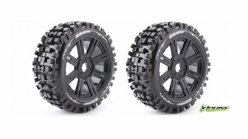 Louise RC B-ULLDOZE 1:8 Buggy Reifen soft auf Speichen Felgen Schwarz LR-T324SB
