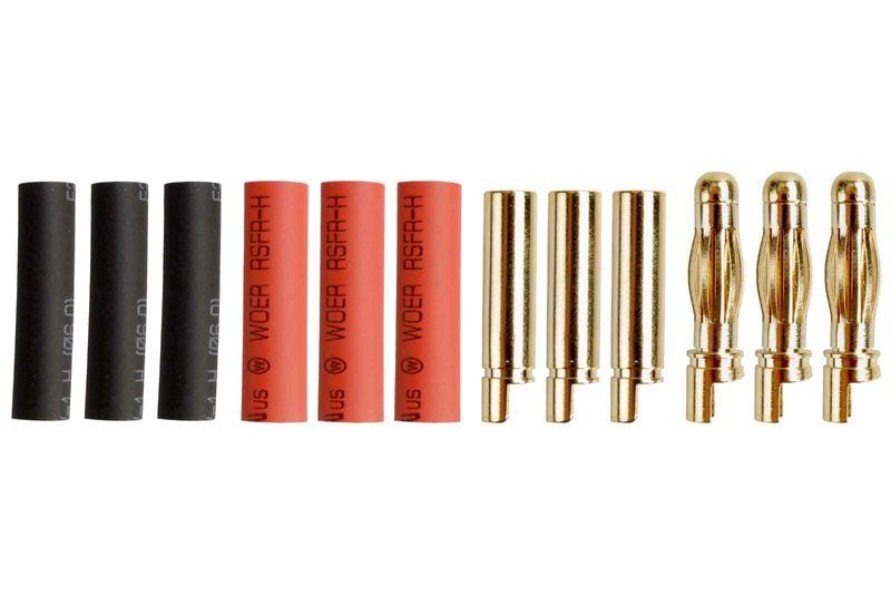 Goldkontakt 4,0mm mit Schrumpfschlauch 3 Paare AM-606-3P
