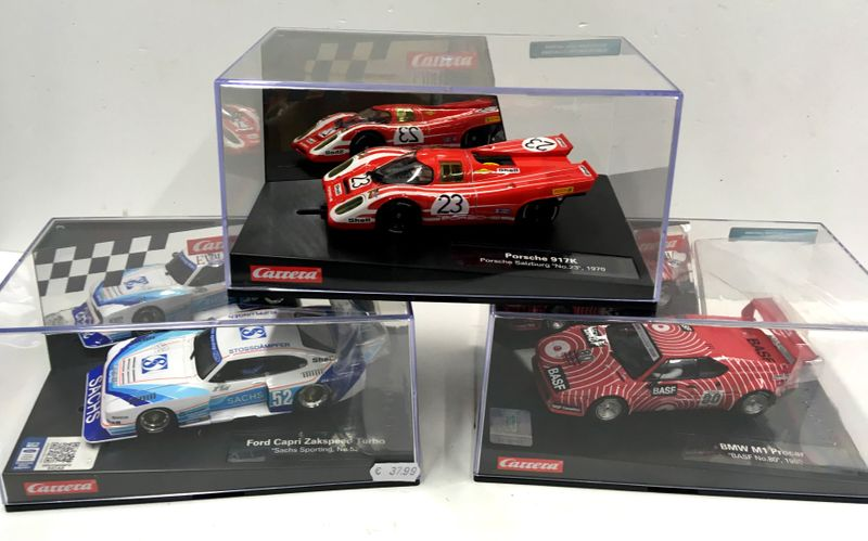 Carrera Evolution Classic Race Car Set Ford Capri+Porsche+BMW M1 27568, 27569, 27567