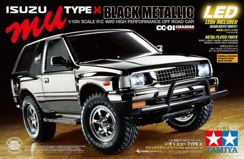 Tamiya 1:10 RC Isuzu MU Type X CC-01Black Metallic + LED Licht 47383 Bausatz