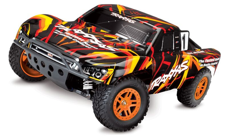 TRAXXAS Slash 1:10 2.4GHz 4X4 ORANGE/ROT RTR +12V-LADER+AKKU BRUSHED 68054-1 – Bild 1