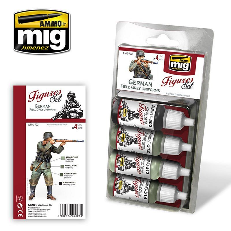 MIG Figuren Farben Set GERMAN FIELD GREY UNIFORMS 68 ml (€15,57/100ml) 2414297021