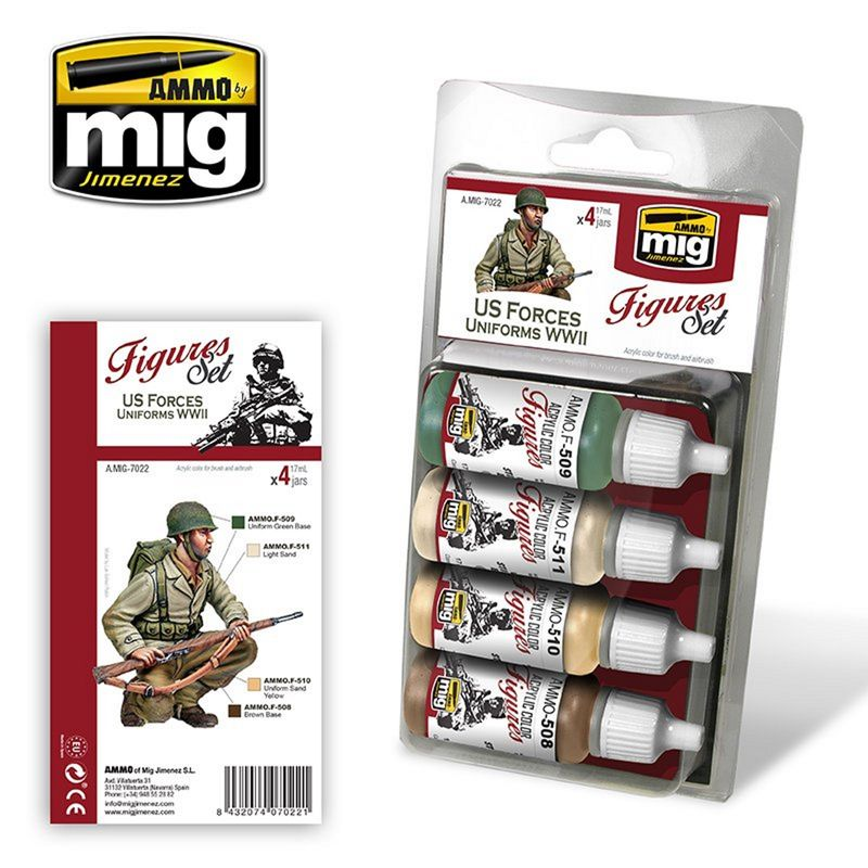 MIG Figuren Farben Set US FORCES UNIFORMS WWII 68 ml (€15,57/100ml) 2414297022