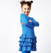 Mim-Pi Stufen Kleid small Dots - blau