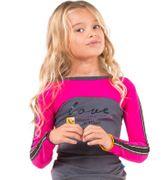 Ninni Vi Langarmshirt LOVE New York Fischgrätmuster - Pink Beetroot Purple