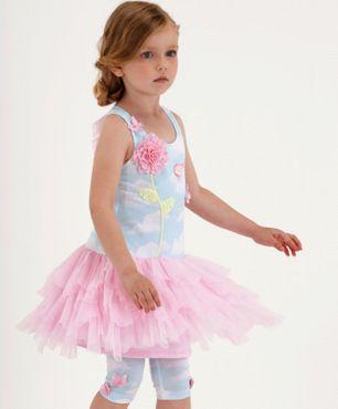 Kate Mack Set Kleid + Legging Sky 3D Blume und 3D Schmetterlingen - Rosa