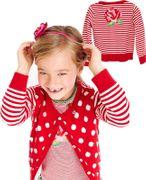 Mim-Pi goldiges Shirt Rose Stripe - Rot Weiss Pink