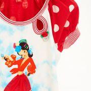 Mim-Pi Kleid Dots Tänzerin 3D Verzierung - Rot Weiss