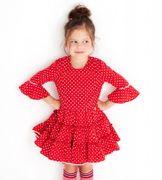 Mim-Pi Kleid 3/4 Arm small Dots - Rot Weiss