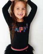 Mim-Pi Langarm Shirt Happy - Schwarz