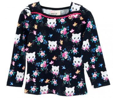 Mim-Pi Langarm Shirt Kätzchen - Schwarz