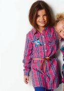 Mim-Pi Hemd Kleid Karo mit Vogel-Patches