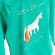 Mim-Pi Shirt Langarm 3D Einhorn - Grün
