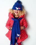 Mim-Pi Winter Mantel Blumen - Rot Blau