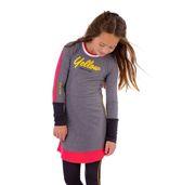 Ninni Vi Langarm Kleid Glocke gestreift - Grey Yellow