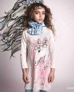 Paper Wings Rüschen Kleid hinten besonders schön Winter Unicorn Stars - Light Grey