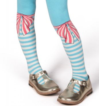 Paper Wings Strumpfhose Bow and Stripes - Blau Rosa