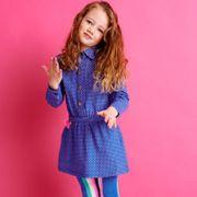 Mim-Pi Kleid Hemd Kleid Sternen- Knöpfe - Blau Rosa