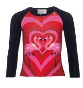 Mim-Pi Langarm Shirt Flamingos in Love - Blau Pink