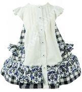 Baby Blue Kleid Karo / Blumen -  weiß blau