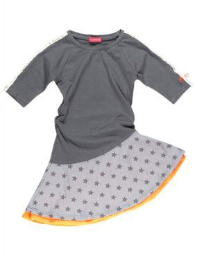 Kiezel-tje K3343 Kleid Sterne anthrazit, orange