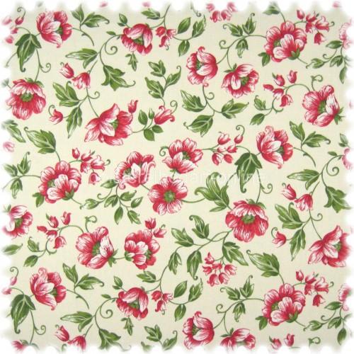 Floral Flachgewebe Möbelstoff Sonya Rot mit Farbdruck im Englisch Leinen Look