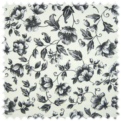 Floral Flachgewebe Möbelstoff Sonya Grau mit Farbdruck im Englisch Leinen Look