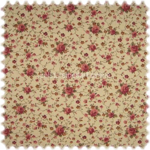Möbelstoff Flora Little Rose Rotviolett / Sand in Englisch Leinen Optik