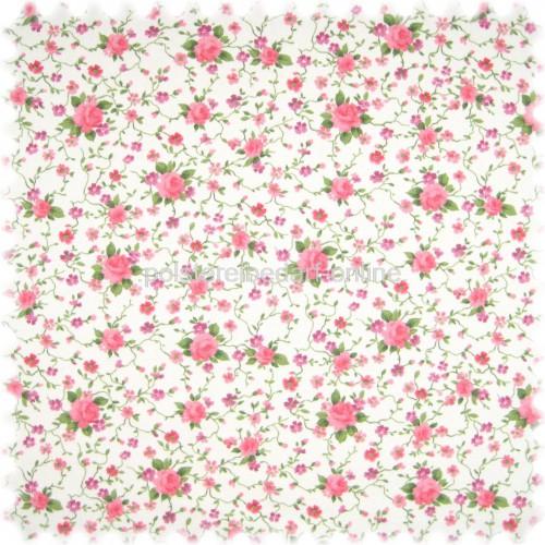 Möbelstoff Flora Little Rose Rosa in Englisch Leinen Optik