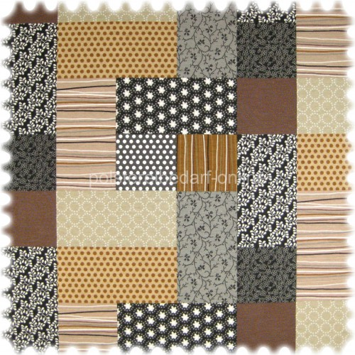 Farbdruck Möbelstoff Patchwork Braun