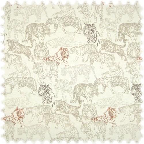 Flachgewebe Möbelstoff Tiger Weiss / Graubeige