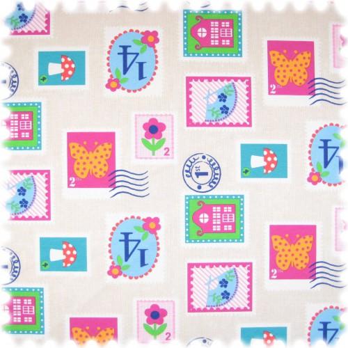 Farbdruck Möbelstoff Briefmarke Beige / Pink / Grün