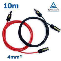 10 m Solarkabel PV-Kabel 4 mm rot schwarz mit Buchse und Stecker MC4 kompatibel